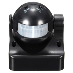 | 180° PIR Motion Activated Sensor LED Light Indoor Outdoor Garden Patio Wall Shed (Black) (Intl)