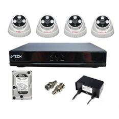 | Bộ camera IP J-Tech 3206 (04 camera + 01 đầu ghi 4CH + 01 HDD 500GB)