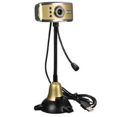 | HD USB LED Webcam Night Vision Camera with Mic for Desktop (Gold) (Intl)