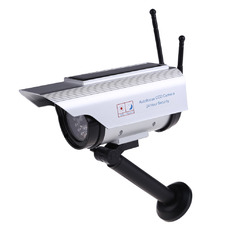 | Solar Power Fake Dummy Outdoor Security Home CCTV Camera Flashing LED Light (Silver) (Intl)